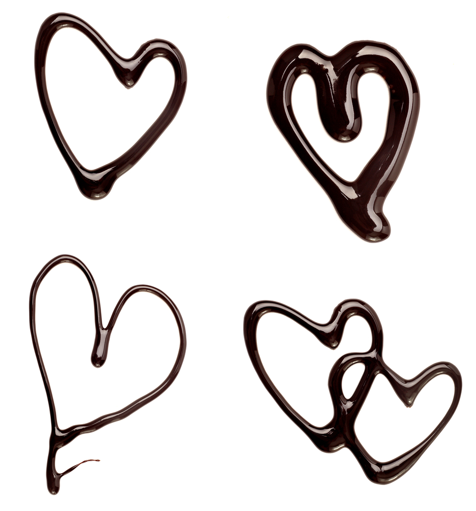 collection of  chocolate syrup heart shapes on white background. each one is shot separately